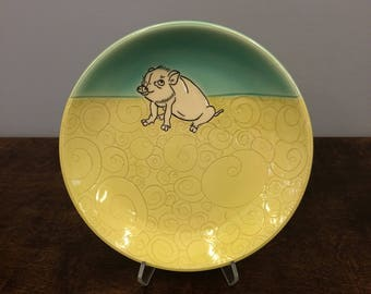 Handmade Lunch Plate, Pig. Glazed in Aqua & Lime. MA113