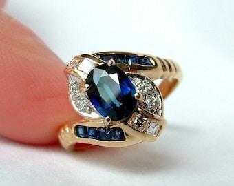 14k Gold Blue Sapphire And Diamond Twist Ring, 14k Sapphire Diamond Ring, Sapphire Diamond Gold Ring, Sapphire Diamond Gold Twist Ring