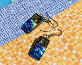 Fused Glass Earrings in Summer Colors