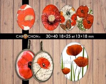 Joli Coquelicot • 45 Images Digitales OVALES 30x40 18x25 13x18 fleur fleurs romantique rouge coquelicot japon pivoine