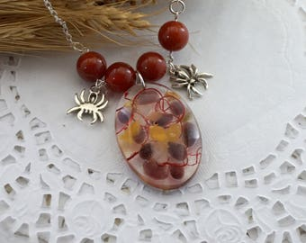 Birthstone necklace Boho necklace Resin jewelry Red necklace Citrine necklace Halloween Gift|For|Girlfriend Spider jewelry Gemstone necklace