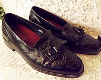 Florsheim Mens Black Leather Tassel Wing Tip Loafers Size 9.5 EEE