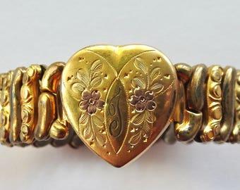 Antique Gold Filled Engraved Expansion Bracelet