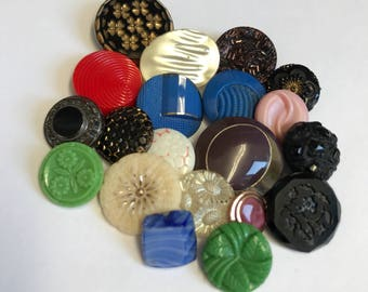 Group vintage Glass buttons