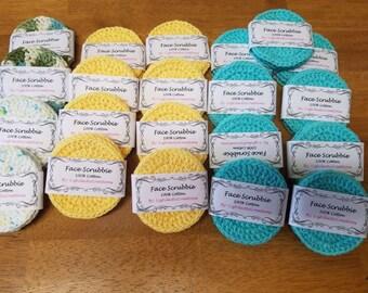 handmade face scrubbies ~ Face Scrubbies ~Ready to ship~ crochet face scrubbies ~cotton face scrubbies ~ make up pads ~ face pads ~ set of 3