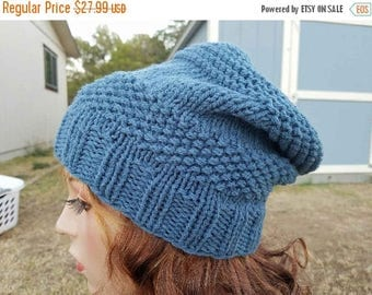 15% OFF SALE Handknitted slouchy hat, Ready to ship, Knitted hat, Knitted beanie, winter hat, Medium Denim hat, knitted women's hat