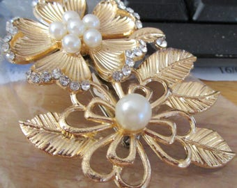 vintage goldtone recycled brooch with floral design and faux pearls
