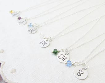 Sterling Silver Initial and Birthstone Necklace, Initial Jewelry, Personalized Bridesmaid Gifts, Bridesmaid Necklace, Gifts For Her