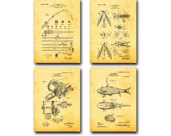 Fishing Patent Print Set of 4 - Fishing Rod, Lure, Reel, Bait Patent Art Poster