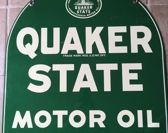 Vintage Quaker State Motor Oil Gasoline Advertising Sign