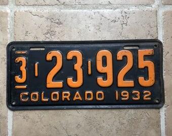 Vintage License Plate 1932 Colorado Automobile Transportation Plates