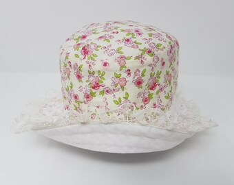Children's Ucycled Summer Sunhat with lace trimmed brim