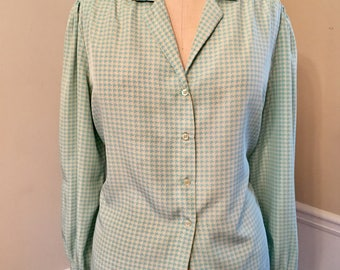 Houndstooth blouse, button up blouse, blue & white, XL blouse, womens XL, vintage blouse, 80's top