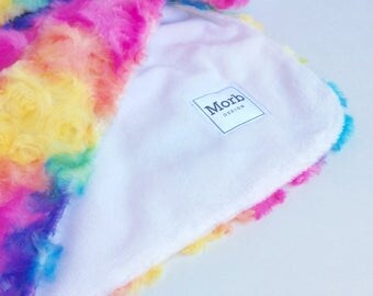 Rainbow Nursery Gift, Rainbow Baby Blanket, Colourful Blanket, Rainbow Baby Gift, Rainbow Blanket, Snuggly Blanket, Minky Baby Blanket,