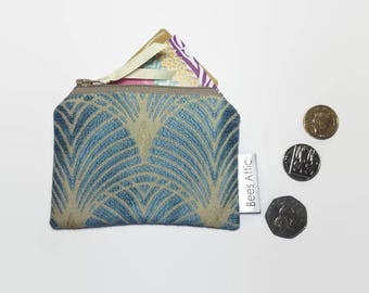 Coin Purse, Art Deco, Credit Card Holder, Blue, Cosmetics Bag, Jewellery Pouch, Gift Card Holder, gadget pouch, teabag wallet, gifts for he