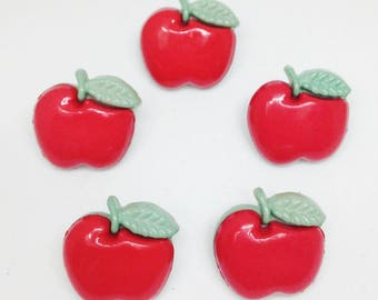 5 Red & Green Apple Buttons - with shanks, novelty, fruit, button
