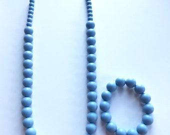 Sale- Cornflower Blue Pearl Style Set