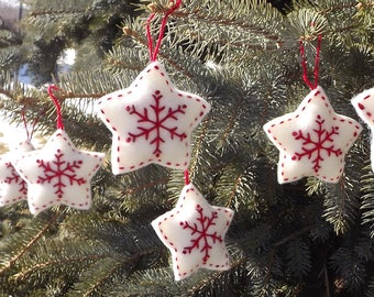 Christmas Snowflake Ornaments Hand Embroidered Wool Set Of Six