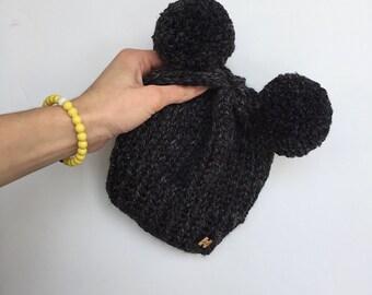 Toddler size (1-3 year) beanie, hat, toque, pom hat, pom pom hat, knit double pom hat, double pom hat