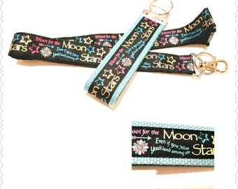 Shoot for the Moon and Stars Lanyard, Gifts for Her, Inspirational Gifts