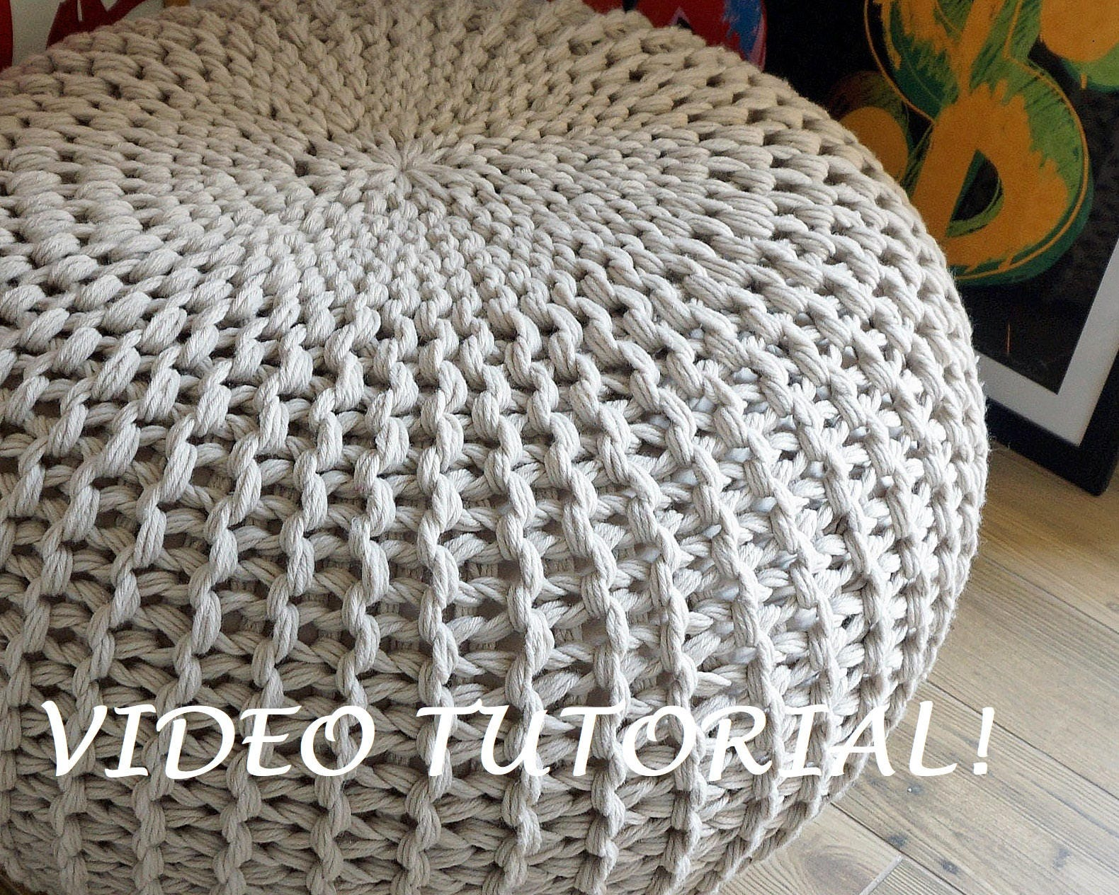 Knitting pattern knitted pouf pattern poof knitting ottoman - Knitted pouf ottoman pattern ...
