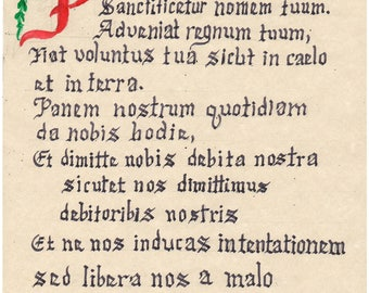 Pater Noster, the Lord's Prayer in Latin