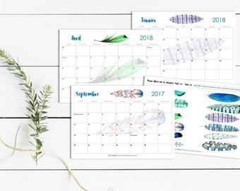 Calendrier année scolaire : septembre 2017 à août 18 - Plumes - 12 mois - A4 - pratique - organisation - Bleu - Vert - Boho - Bohème - BuJo