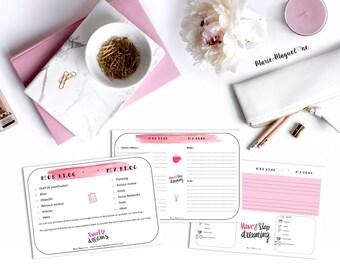 Mon blog - My blog - Outil de planification pour blog -pratique - organisation - 2018 - Rose et noir - Sweet dreams - calendrier - planning