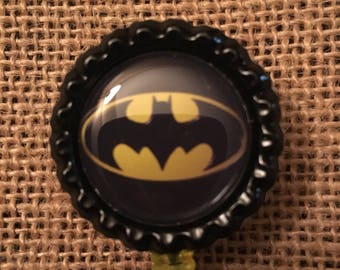 Batman Inspired Bottlecap Retractable ID Badge Holder Name Tag Reel