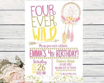 Boho Four-Ever Wild Dreamcatcher 4th birthday personalized invitation- ***Digital File*** (Four-Wild01)