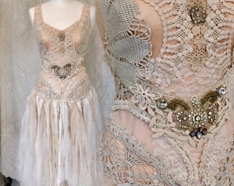 Boho wedding dress airy tulle,Fairy wedding dress, alternative wedding spectacular ,Victorian wedding,unique bridal gown Rawrags,eco wedding