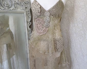 Repurposed lace top,country fashion top,shabby chic lace top,bohemian lace top,gypsy silk top,eco friendly top,Rawrags top,antique lace