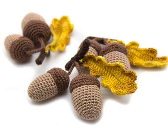 1 Pcs - Crochet acorn, teether teeth, kitchen decoration, eco-friendly Baby toys