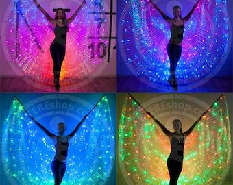 """LED Bellydance Wings """"Pas de Bleu"""" - 200 LEDs MIX color"""