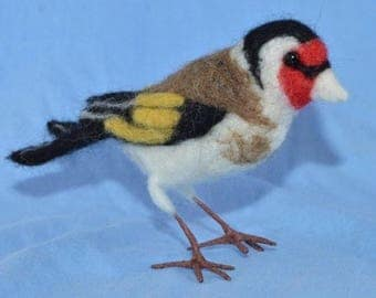 Needle felting kit for 1 Goldfinch bird collectible ornament gift garden bird