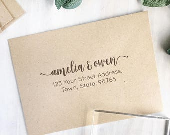 Simple Return Address Stamp | Custom Address Stamp - Modern Calligraphy - Wedding Stamp - New Home Gift