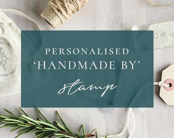 Custom Handmade By Stamp | Handmade With Love Stamp - Handmade Business Stamp - Personalised Handmade Stamp - Hand Crafted