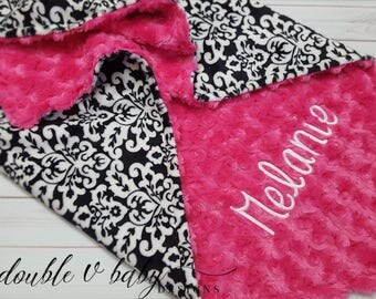 Black and White - Personalized Baby Blanket or Lovey - Damask - Baby Girl