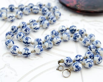 Porcelain Beaded Necklace - WWII Sweetheart Jewelry - Vintage Chinese Souvenir Gift For Her - Asian Blue Ceramic Necklace - Boho Jewelry
