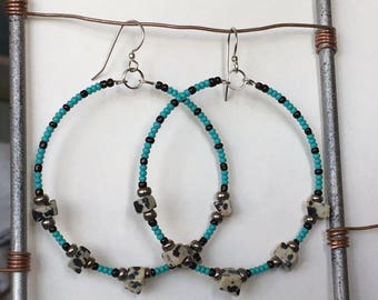 Gypsy Hoops with Dalmation Jasper and Turquoise