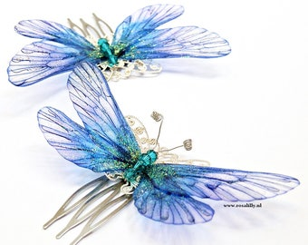 Small blue fairy butterfly hair comb. Blue butterfly hair comb with Swarovski crystals. Fairy hair comb. Fair hair accessories. Gift for her