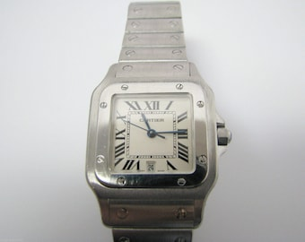 a813 Vintage Elegant Cartier Santos 1564 Watch with Date in Stainless Steel