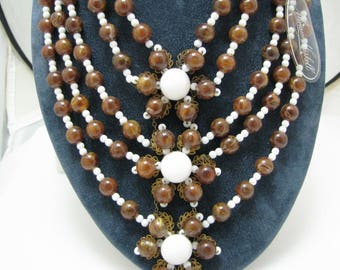 c009 Wonderful Vintage Miriam Haskell (5) Strand Necklace with Tags