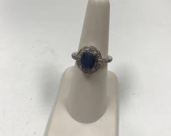 d116 Vintage Elegant Sterling Silver Oval Blue White Stone Women's Ring Sz 6
