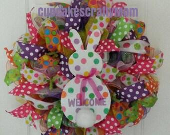 Welcome Easter Bunny Wreath, Welcome Bunny Wreath, Welcome Easter Wreath, Welcome Easter Bunny Deco Mesh Wreath, Spring Bunny Wreath