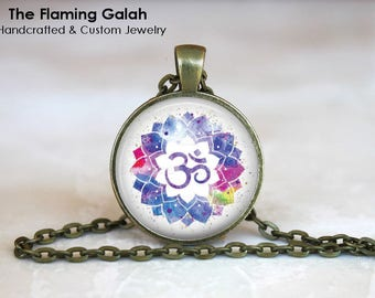 OM Symbol Pendant • Watercolour OM and Lotus • Namaste • Gift for a Yogi • BoHo OM • Gift Under 20 • Made in Australia (P1510)