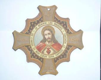 God Bless Our Home Antique French Sacred Heart of Jesus plaque Montmartre basilica Paris 1900s  Blessing Plaque 2FACES Religious decoration