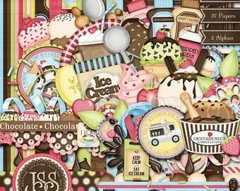 On Sale 50% Ice Cream Digital Scrapbook Kit - Digital Scrapbooking