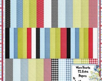 On Sale 50% Warm Hearts Digital Scrapbook Kit Extra Papers Pack - Digital Scrapbooking
