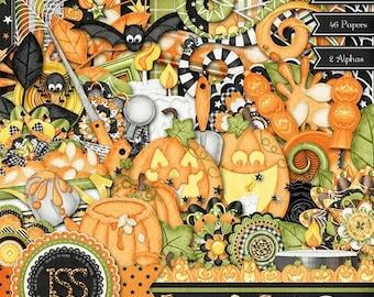 On Sale 50% Digital Scrapbooking Halloween Jack O Lantern Digi Scrap Kit